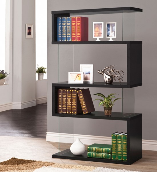Contemporary Black Wood Glass Fixed Shelves Bookcase CST-800340