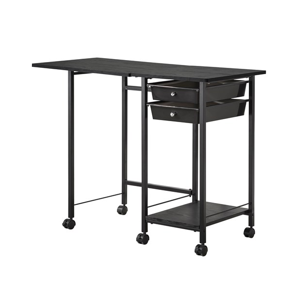 Black Folding Desk w/Casters & Drawers & Shelf CST-800429