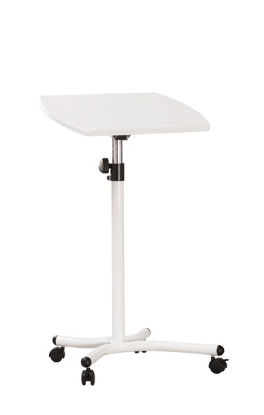 White Wood Adjustable Height Laptop Stand W/Casters CST-800484