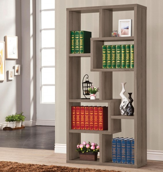Grey Wood Rectangular Cubed Bookcase W/Fixed Shelves CST-800510