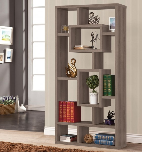 Grey White Cappuccino Wood Bookcase CST-800512-157-58-259-VAR