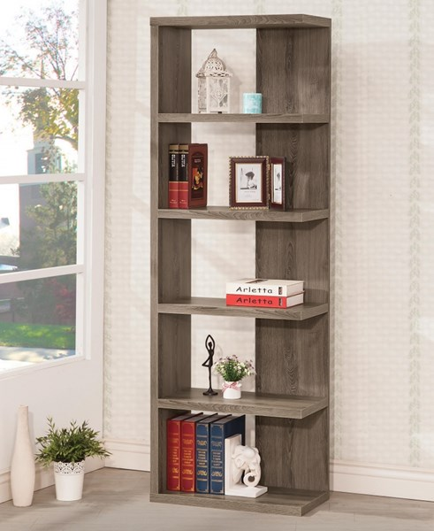Grey Wood Semi Backless Bookshelf W/Fixed Shelves CST-800553
