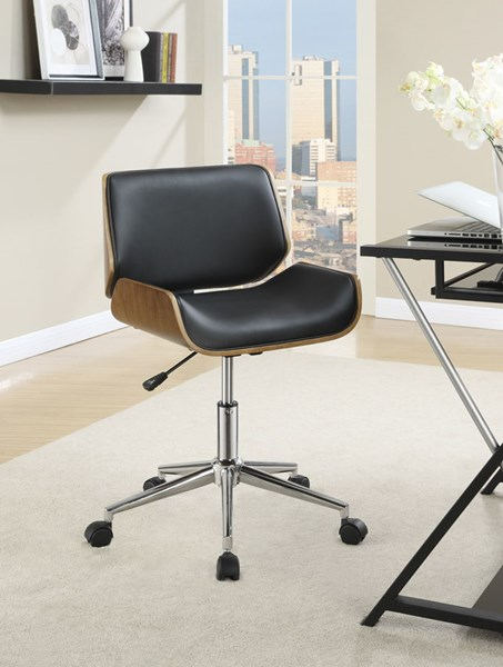 Black Faux Leather Chrome Metal Square Office Chairs CST-800612-13