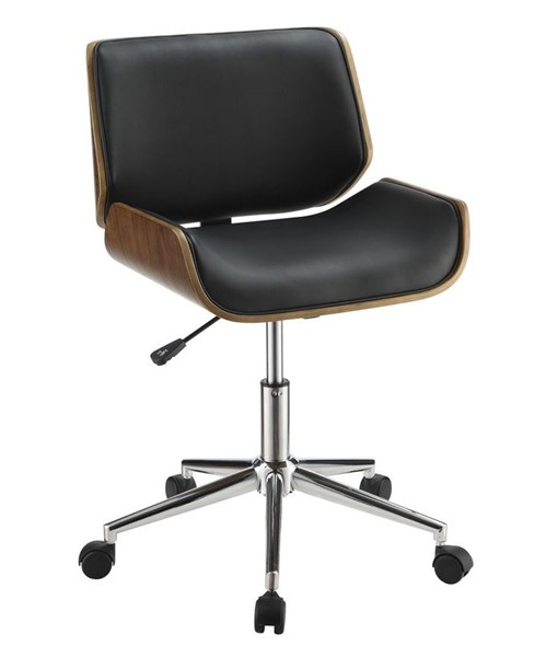 Coaster Furniture Black Faux Leather Chrome Metal Square Office Chair CST-800612