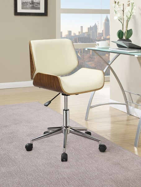 Ecru Faux Leather Chrome Metal Square Office Chair CST-800613