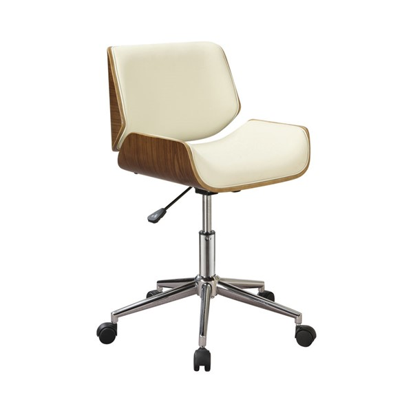 Coaster Furniture Ecru Faux Leather Chrome Metal Square Office Chair CST-800613