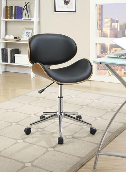Black Faux Leather Chrome Metal Round Office Chairs CST-800614-15