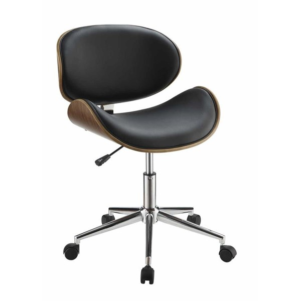 Black Faux Leather Chrome Metal Round Office Chair CST-800614