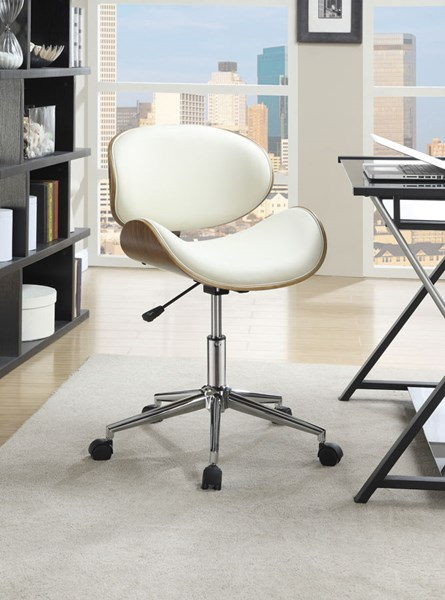 Ecru Faux Leather Chrome Metal Round Office Chair CST-800615