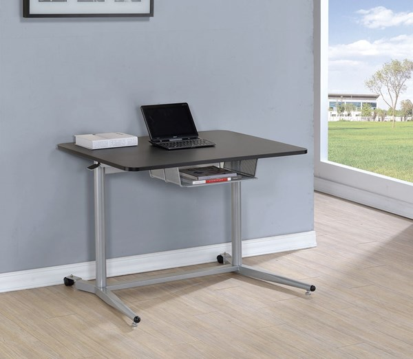 Black Silver Wood Metal Adjustable Table w/Storage Compartment CST-800652