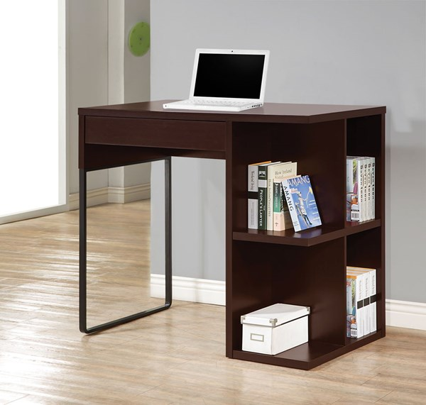 Cappuccino Black Wood Standing Desk w/USB Connection CST-800678