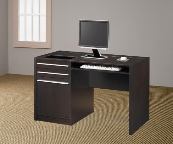 Contemporary Brown Wood Drawers Rectangle Computer Desk CST-800702