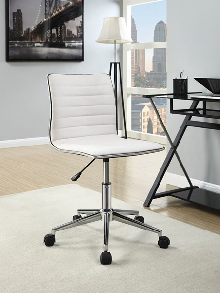 Chrome Cream Fabric Metal Adjustable Height Office Chair CST-800726