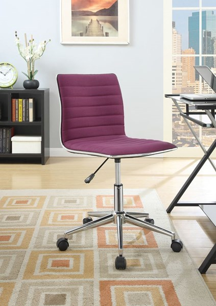 Chrome Purple Fabric Metal Adjustable Height Office Chair CST-800728