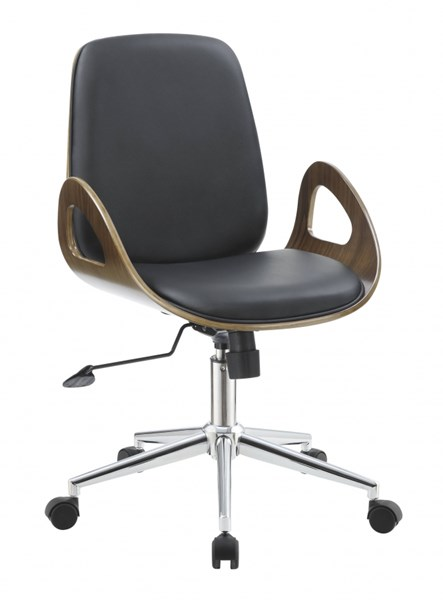 Modern Black Ecru Leatherette Casters Office Chairs CST-80073-OFF-CH-VAR1