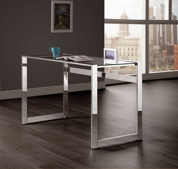 Coaster Furniture Chrome Frame Glass Top Computer Desk CST-800746