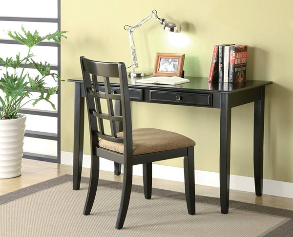 Coaster Furniture Black Wood 2pc Writing Desk Set CST-800779