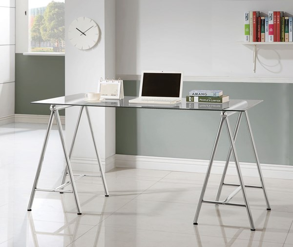 Contemporary Nickel Glass Metal Writing Desk CST-800804
