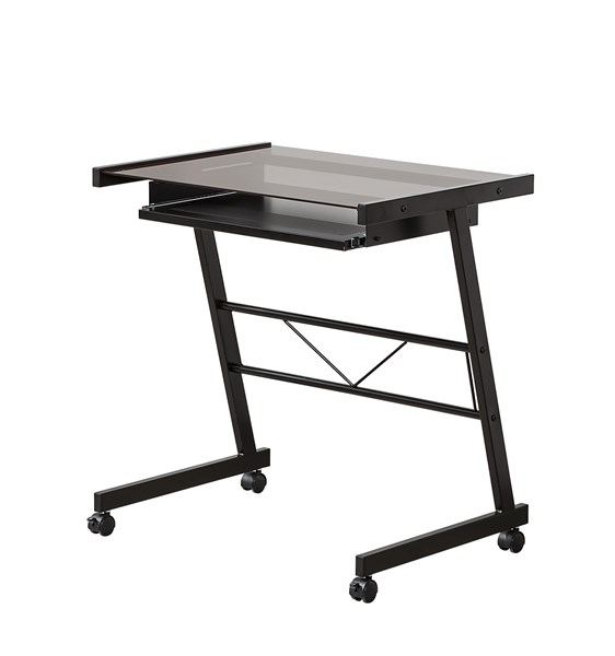 Black Tempered Glass Computer Desk W/Casters CST-800816