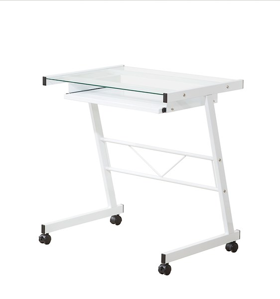 White Tempered Glass Computer Desk W/Casters CST-800817