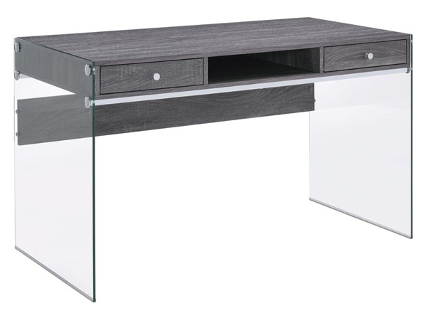 Coaster Furniture Weathered Grey Wood Glass Computer Desk CST-800818