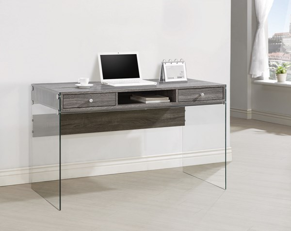 Coaster Furniture Weathered Grey Wood Glass Computer Desks CST-800818-VAR