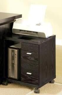 Transitional Black Black 2 Drawer Computer Stand CST-800822