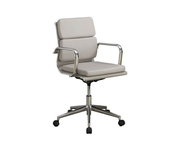 Taupe Faux Leather Adjustable Height Office Chair CST-800828