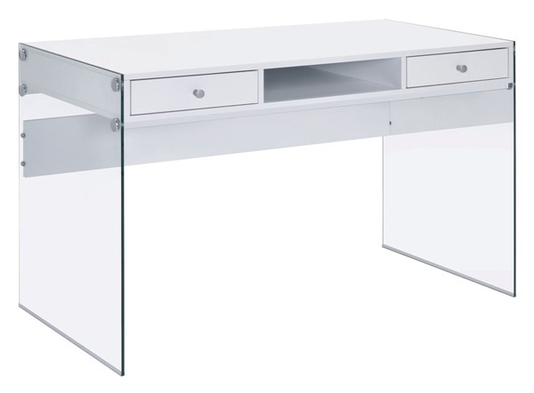 Coaster Furniture Glossy White Wood Glass Computer Desk CST-800829