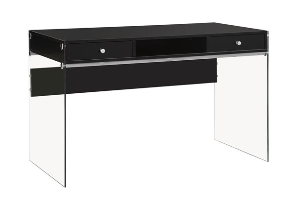 Contemporary Glossy Black Wood Glass Computer Desk CST-800830