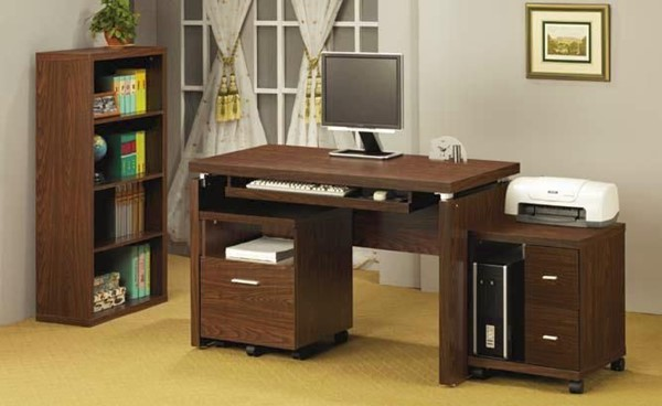 Contemporary Brown Wood Office Furniture Set CST-800831S