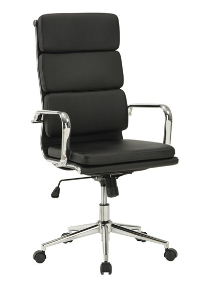 Contemporary Black Faux Leather Metal Office Chair W/Padded Back CST-800836