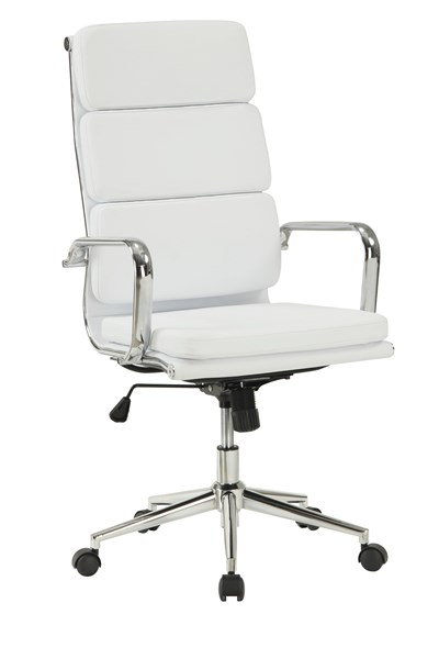 Contemporary White Faux Leather Metal Office Chair W/Padded Back CST-800837