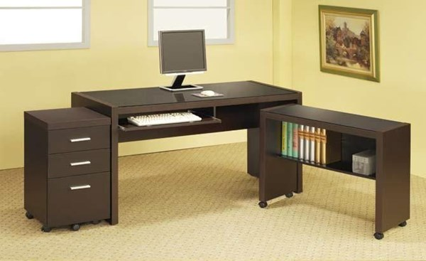 Contemporary Brown Cappuccino Office L Desk CST-800901S