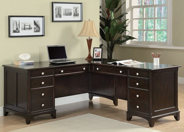 Garson Cappuccino Wood Multiple Drawers Office L Desk CST-801011