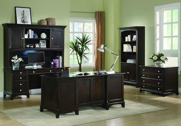 Transitional Cappuccino Office Furniture Set CST-801011S