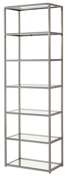 Nickel Metal Tall Bookcase W/Fixed Shelves CST-801017