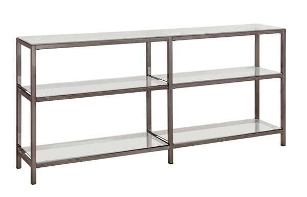 Coaster Furniture Black Nickel Glass Shelves Console Bookcase CST-801018