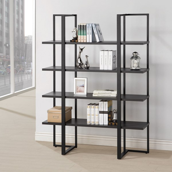 Cappuccino Black Wood Metal Tall Bookcase CST-801035