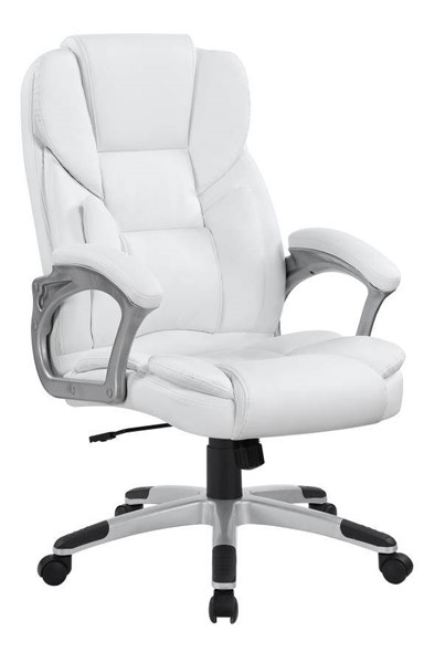 Coaster Furniture White Faux Leather Metal Office Chair CST-801140