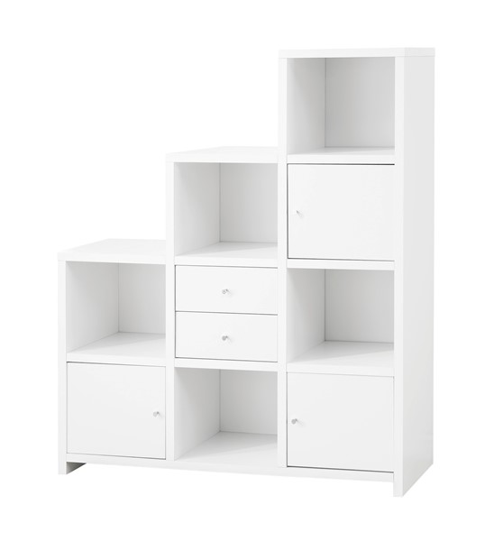 Contemporary White Wood Bookcase w/2 Drawers & 3 Doors CST-801169