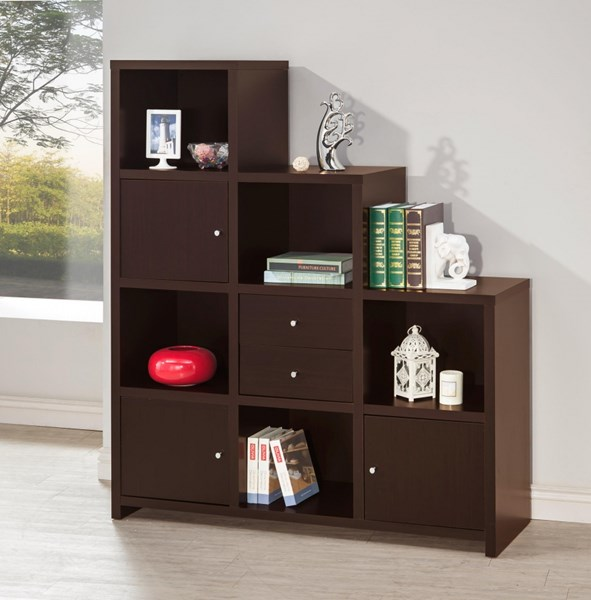 Contemporary Cappuccino Wood Bookcase w/2 Drawers & 3 Doors CST-801170