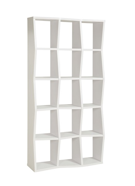 White Wood Bookcase w/15 Open Compartments CST-801180