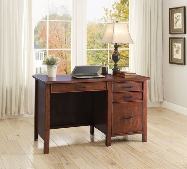 Transitional Red Brown Wood Desk ( 50 L x 23 W x 30 H ) CST-801199