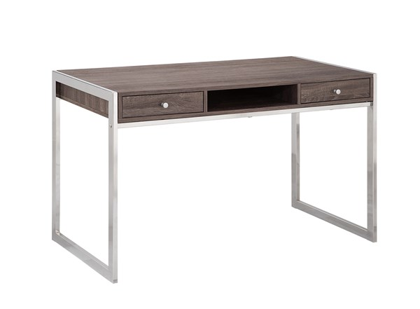 Contemporary Grey Chrome Wood Metal Writing Desk CST-801221