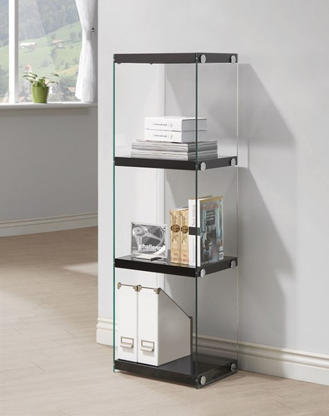 Contemporary Black White Grey Glass Bookcases CST-801257-VAR