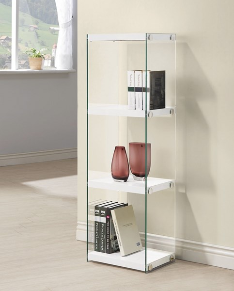 Glossy White Glass Fixed Shelves Bookcase CST-801258