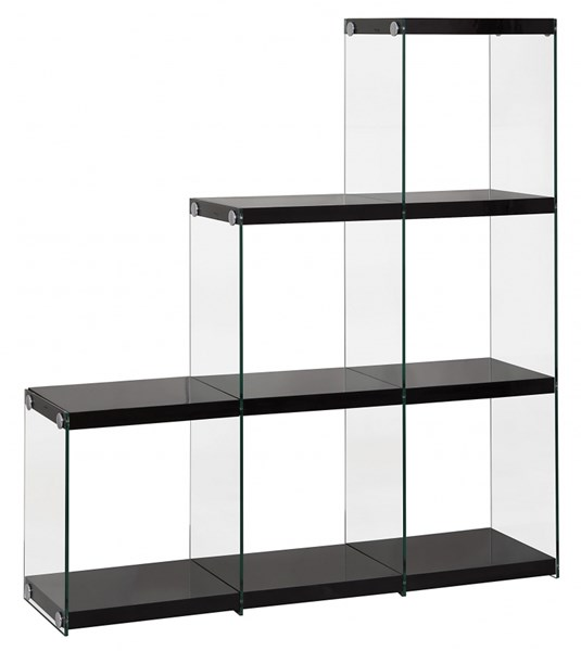 Contemporary Black White Grey Wood Glass Bookcase CST-801260-61-62-VAR