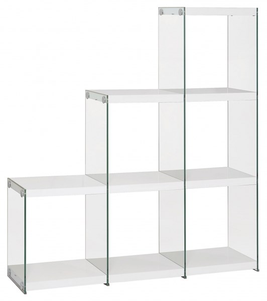Contemporary White Wood Glass Shelves Bookcase CST-801261