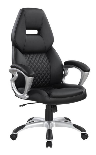 Coaster Furniture Black Faux Leather Metal Office Chair CST-801296